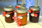 peaches, strawberries and prunes jam
