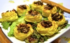 potato nests with mushrooms